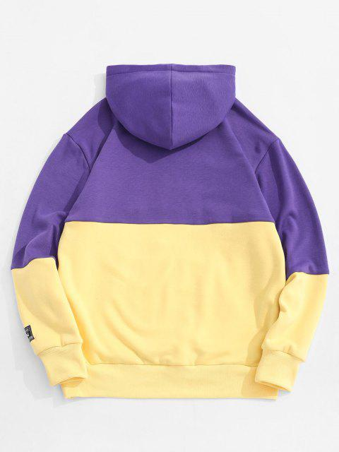 new Letter Embroidered Contrast Applique Fleece Hoodie - YELLOW M Mobile