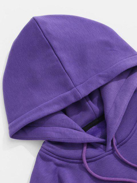 Sweat à Capuche Applique Lettre Brodée Contrasté en Laine - Jaune 2XL Mobile