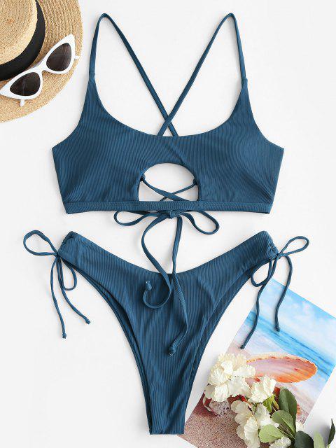 shop Jessica Stockstill X ZAFUL High Cut Lace Up Ribbed Cinched Bikini Swimwear - PEACOCK BLUE M Mobile