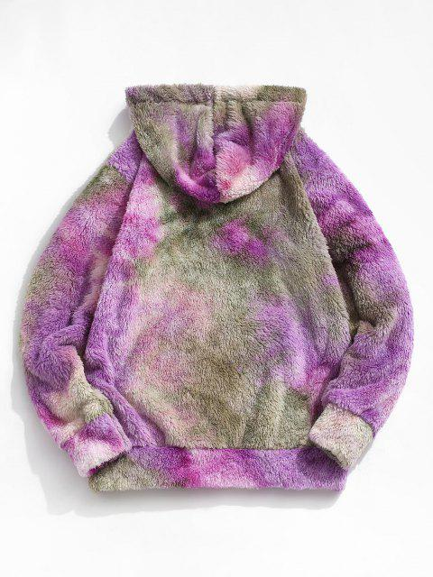 unique Tie Dye Letter Embroidery Fluffy Hoodie - LIGHT GREEN 2XL Mobile
