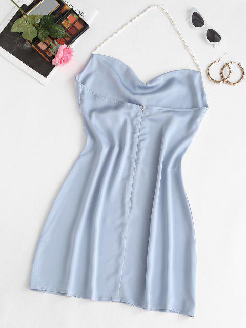 chic Faux Pearl Halter Mini Party Dress - LIGHT BLUE M Mobile