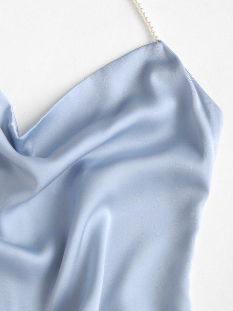 가짜 진주 고삐 미니 파티 드레스 - 라이트 블루 에스 Mobile