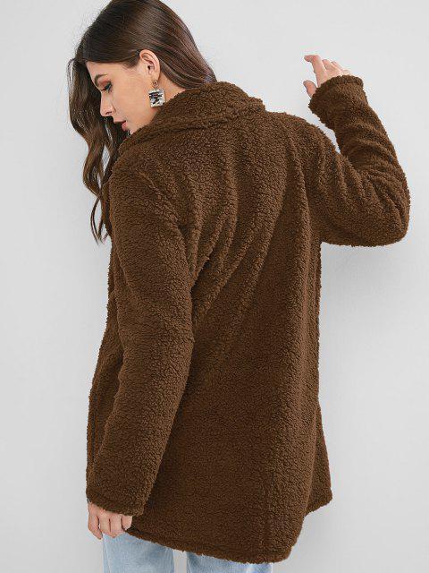 chic ZAFUL Lapel Pocket Longline Faux Fur Coat - COFFEE XL Mobile