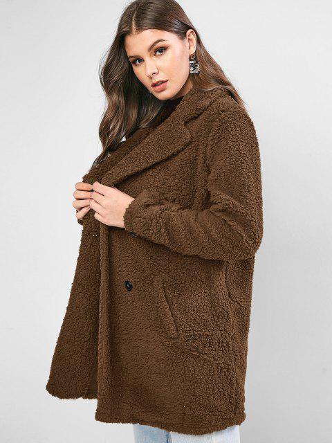 ZAFUL طية صدر السترة الجيب الخيوط الطويلة معطف الفرو فو - قهوة M Mobile