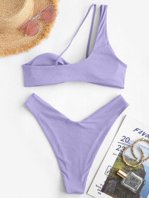 ZAFUL Dieses Einziger Schulter Bikini Badebekleidung mit Schnürung - Lila S Mobile