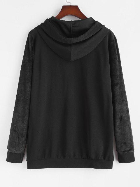 new Plus Size Front Pocket Fluffy Sleeves Hoodie - BLACK L Mobile