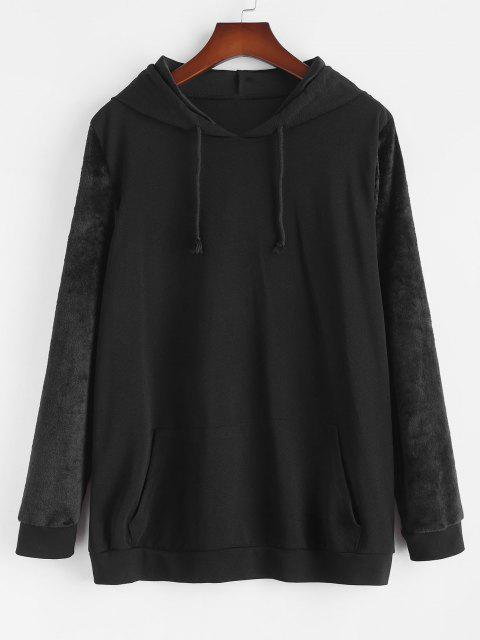 shop Plus Size Front Pocket Fluffy Sleeves Hoodie - BLACK 4XL Mobile
