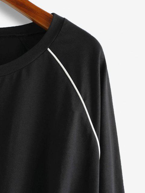 ZAFUL Kontrast Raglanärmel und Tunnelzug T-Shirt - Schwarz S Mobile