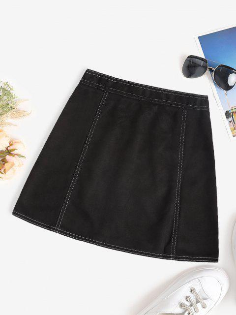 latest Faux Suede Topstitch Zip Fly Skirt - BLACK XL Mobile