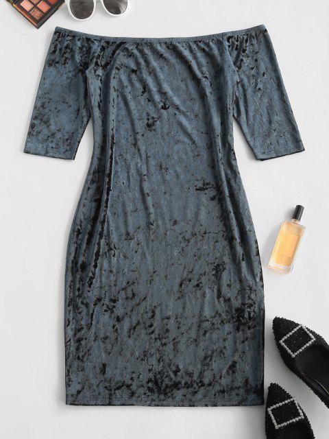 ZAFUL Vestido Ajustado de Terciopelo con Hombro Descubierto - Azul de Medianoche L Mobile