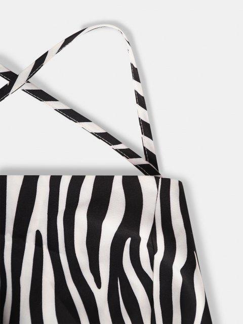 womens ZAFUL Lace Up Zebra Print Mini Bodycon Dress - WHITE M Mobile