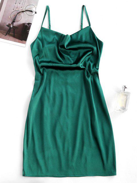 unique ZAFUL Satin Cowl Front Mini Party Dress - DARK GREEN S Mobile