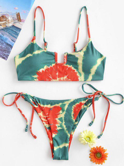 ZAFUL Dieses Krawattenfärbende Farbstoff Bikini Badebekleidung mit U Ausschnitt - Hellgrün S Mobile