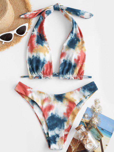 unique Jessica Stockstill X ZAFUL High Cut Tie Dye Ribbed Convertible Bikini Swimwear - WHITE M Mobile
