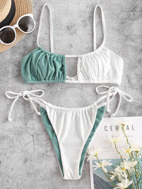 Jessica Stockstill X ZAFUL Gewellt Zwei Ton Krawatte Tanga Bikini-Badebekleidung - Hellgrün S Mobile