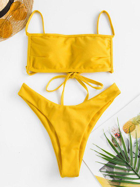 Jessica Stockstill X ZAFUL Strukturierter Criss Cross Brasilianische Bikini-Badebekleidung - Dunkel gelb S Mobile