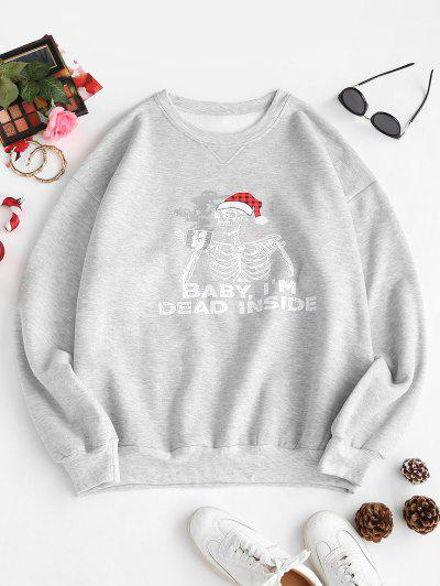 Fleece Lined Skeleton In Christmas Hat Oversized Sweatshirt - Gray Xs