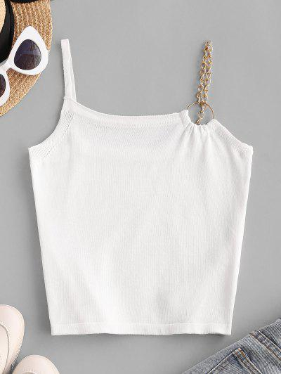 O-ring Chain Strap Knit Cami Top - White
