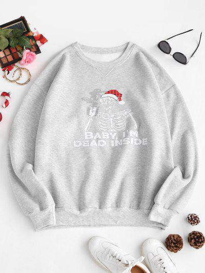 Fleece Lined Skeleton In Christmas Hat Oversized Sweatshirt - Gray S
