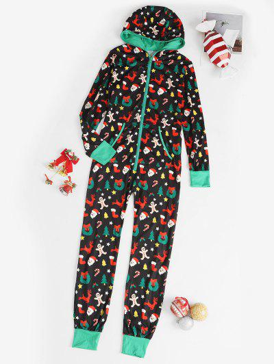 Zip Up Elk Christmas Tree Printed Onesie Pajamas - Deep Green L