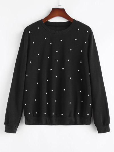 Plus Size Crewneck Beading Sweatshirt - Black 1xl
