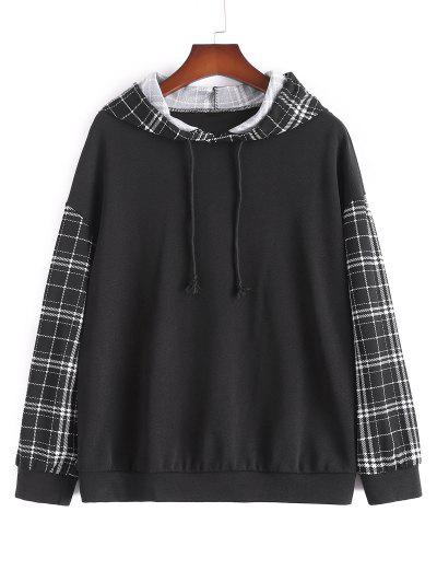 Plus Size Plaid Sleeve Hoodie - Black 2xl