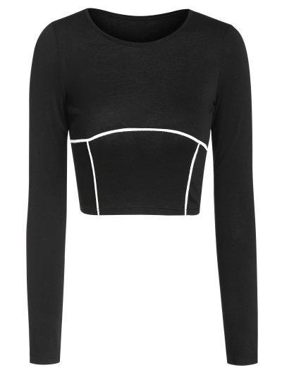 ZAFUL Underbust Binding Crop T Shirt - Black M