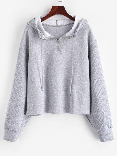 ZAFUL Half Zipper Drop Shoulder Quilt Hoodie - Light Gray S