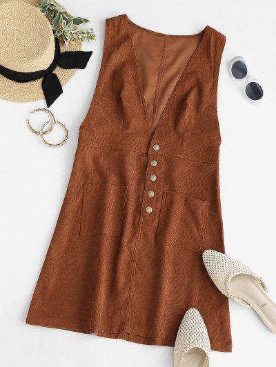 Vestido De Veludo De Algodão Bolso Frontal - Café S
