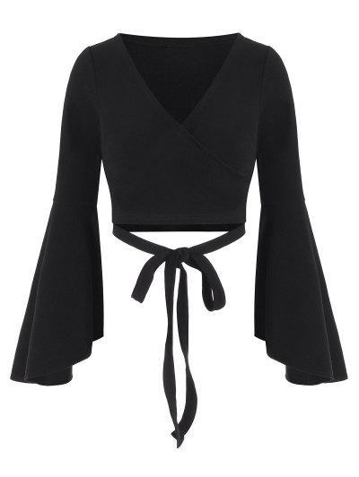 ZAFUL Tie Waist Cropped Surplice Top - Black S