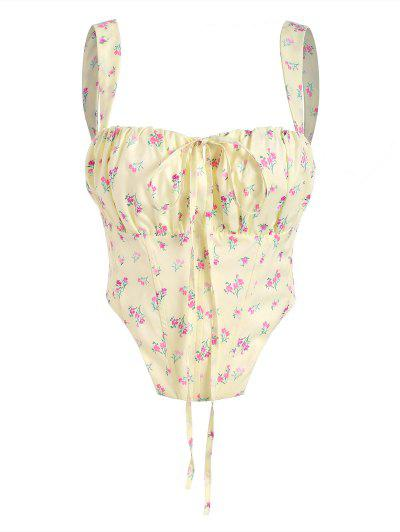 Floral Zip Back Boned Ruched Crop Top - Light Yellow S