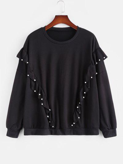Plus Size Beading Ruffles Sweatshirt - Black 4xl