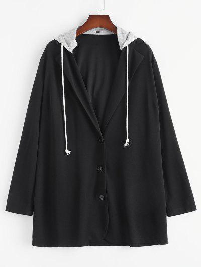 Plus Size Detachable Hooded Longline Blazer - Black 3xl