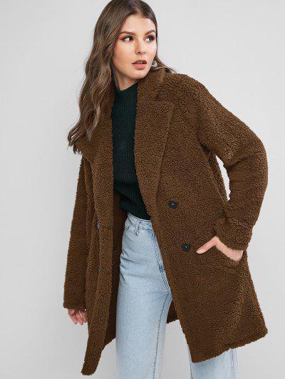 ZAFUL Lapel Pocket Longline Faux Fur Coat - Coffee S