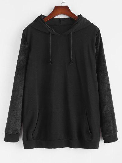 Plus Size Front Pocket Fluffy Sleeves Hoodie - Black L