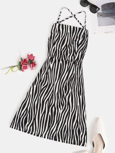 ZAFUL Lace Up Zebra Print Mini Bodycon Dress - White M