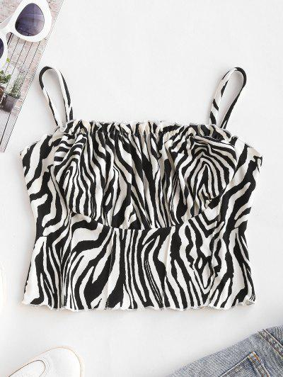 Zebra Print Ruched Cups Pintuck Cropped Camisole - Milk White S