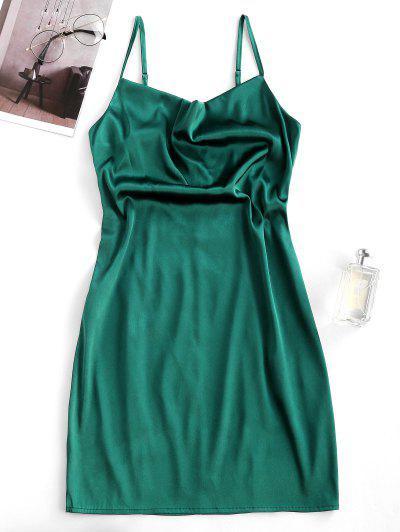 ZAFUL Satin Cowl Front Mini Party Dress - Dark Green M