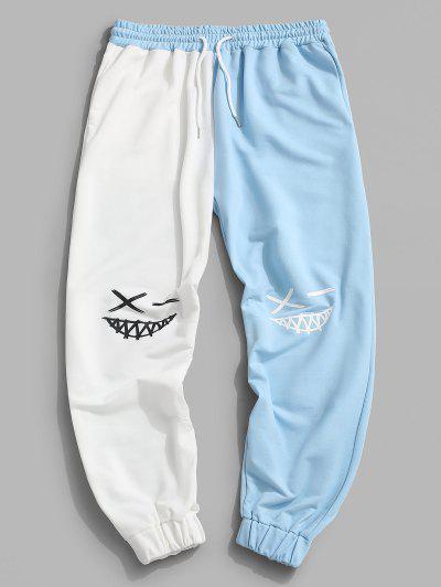 Cartoon Face Print Two Tone Sports Pants - White S