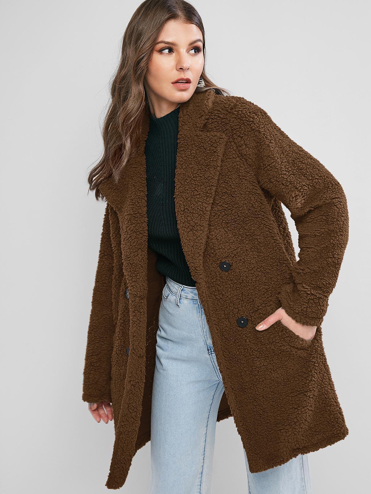 ZAFUL Lapel Pocket Longline Faux Fur Coat