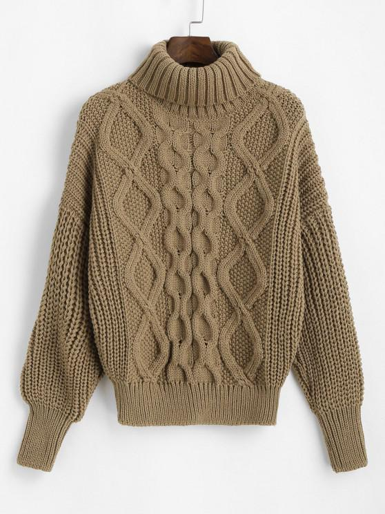 fashion Turtleneck Chunky Cable Knit Sweater - LIGHT COFFEE ONE SIZE
