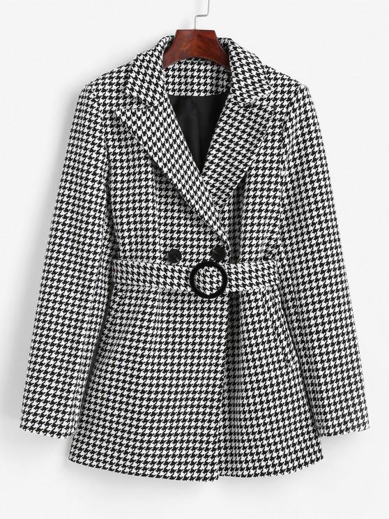 unique Houndstooth Belted Pocket Tweed Blazer - BLACK L