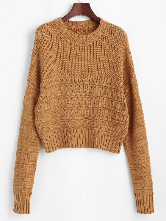 sale Chunky Mixed Knit Drop Shoulder Sweater - LIGHT COFFEE ONE SIZE