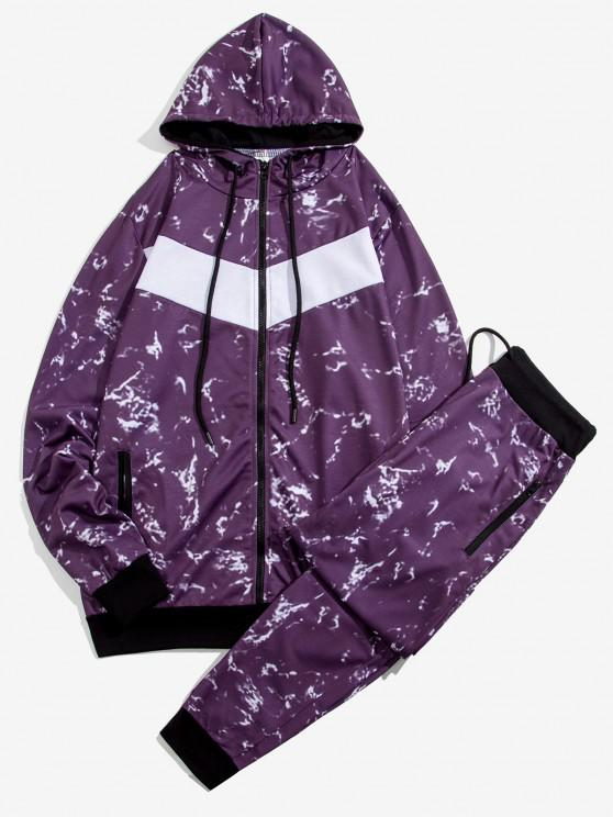 fancy Marble Print Contrast Hoodie and Pants Two Piece Set - PURPLE M