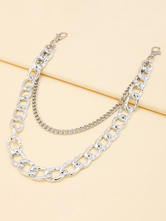 latest Double-deck Pierced Simple Trousers Chain - SILVER