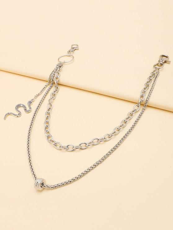 trendy Carved Snake Pendant Layered Trousers Chain - SILVER