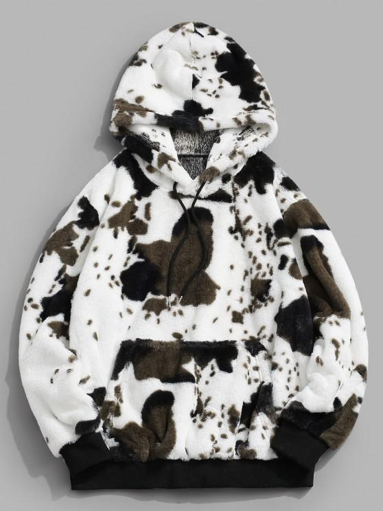 outfits ZAFUL Animal Pattern Faux Fur Fluffy Hoodie - WHITE S