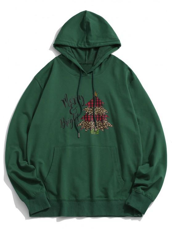 hot Christmas Tree Letters Printed Kangaroo Pocket Hoodie - DEEP GREEN L
