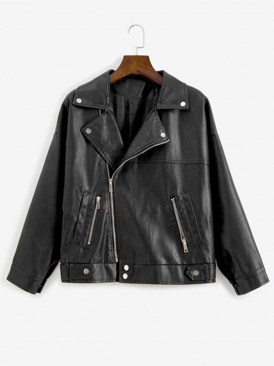 Zip Up Pockets Faux Leather Biker Jacket` - أسود L