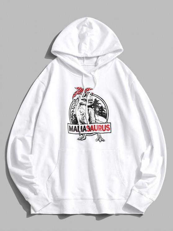 Weihnachten Dinosaurierdruck Känguru Taschen Hoodie - Weiß M